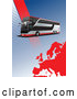 Vector of City Bus Background with Halftone Dots and a Red Europe Map by