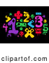 Vector of Colorful Monster Math Numbers and Symbols on Black by BNP Design Studio
