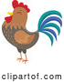 Vector of Crowing Rooster by Visekart