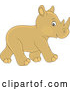 Vector of Cute Baby Rhinoceros Walking by Alex Bannykh