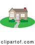 Vector of Cute Brown Home with a Path, Yard and Red Chimney by Rosie Piter