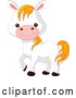 Vector of Cute Cartoon Farm Animal White Pony Horse by Pushkin