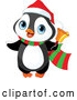 Vector of Cute Christmas Penguin Ringing a Charity Bell by Pushkin
