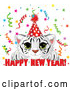 Vector of Cute White Tiger Cub Wearing a Party Hat and Looking over a Happy New Year Greeting, with Confetti by Pushkin