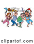 Vector of Dancing Cartoon Mardi Gras Pigs with Freshly Cooked BBQ Grilled Meats by LaffToon