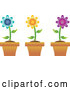 Vector of Digital Collage of Three Colorful Daisies in Terra Cotta Pots by Pams Clipart