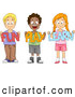 "Vector of Diverse Cartoon School Children Holding ""Fun Play Learn"" Signs While Smiling by BNP Design Studio"