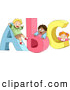 Vector of Diverse Cartoon School Children Playing on 'ABC' Letters by BNP Design Studio