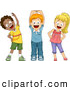 Vector of Diverse Cartoon School Children Stretching While Smiling by BNP Design Studio