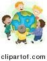 Vector of Diverse Happy Kids Holding Hands and Standing Around Earth by BNP Design Studio
