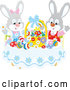 Vector of Easter Bunny Rabbits Cheering at a Table with Eggs and a Basket by Alex Bannykh