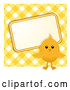 Vector of Easter Chick with a Sign over Yellow Gingham by Elaineitalia