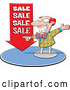 Vector of Energetic Cartoon Salesman Pointing to a Red 'SALE' Arrow by Jtoons