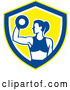 Vector of Fit Lady Doing Bicep Curls with a Dumbbell in a White Blue and Yellow Shield by Patrimonio