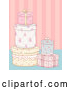 Vector of Floral Gifts over Pink Stripes Background by BNP Design Studio