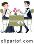 Vector of Formal Couple Drinking Red Wine at a Restaurant by BNP Design Studio