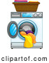 Vector of Front Loading Washing Machine with Clean Laundry by Graphics RF