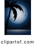 Vector of Full Moon Behind a Palm Tree and over the Calm Sea by Elaineitalia