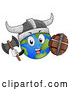 Vector of Globe Earth Viking Character with a Shield and Axe by BNP Design Studio