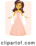 Vector of Gorgeous Hispanic Girl in a Quinceanera Dress and Tiara on Pink by Amanda Kate