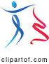 Vector of Gradient Blue and Red Ribbon Dancer in Action by Vector Tradition SM