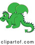 Vector of Green Baby Dragon in Profile by Pams Clipart