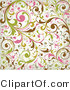 Vector of Green, Pink, Brown Leafy Vines Background Pattern Design by OnFocusMedia