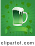 Vector of Green St Patrick's Day Beer over a Blank Banner on a Green Clover Burst Background by Pushkin