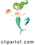 Vector of Green Themed Mermaid Swimming with a Seahorse and Fish by Yayayoyo