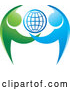 Vector of Grid Globe with Blue and Green Dancing or Protective People by Lal Perera