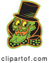 Vector of Grinning Human Skeleton Wearing a Hat, Glasses and a Bowtie by Andy Nortnik