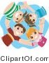 Vector of Group of 4 Happy Kids Huddling in a Circle and Looking down by BNP Design Studio
