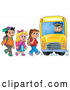 Vector of Group of School Children Boarding a Bus by Visekart