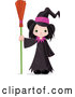 Vector of Halloween Witch Girl Standing with a Broom by Pushkin