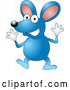 Vector of Happy Blue Mouse Wearing Gloves and Doing Jazz Hands by AtStockIllustration