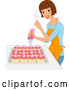 Vector of Happy Brunette Lady Icing Cupcakes by BNP Design Studio
