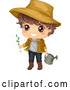 Vector of Happy Brunette White Boy Wearing a Sun Hat and Gardening with a Watering Can by BNP Design Studio