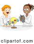 Vector of Happy Cartoon Black and White Students Studying the Solar System in Science Class by BNP Design Studio