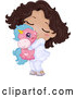 Vector of Happy Cartoon Black Girl in Her Pajamas, Hugging a Unicorn Toy by BNP Design Studio