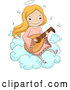 Vector of Happy Cartoon Blond Angel Girl Playing a Lute on a Cloud by BNP Design Studio