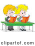 Vector of Happy Cartoon Blond School Children Reading Books at Their Desk by Alex Bannykh