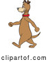 Vector of Happy Cartoon Brown Dog Walking Upright in Profile by Cartoon Solutions