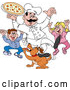 Vector of Happy Cartoon Chef Guy Holding Pizza over Excited Children and a Dog by LaffToon