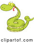 Vector of Happy Cartoon Coiled Green Snake by Hit Toon