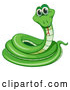 Vector of Happy Cartoon Green Coiled Snake by Graphics RF