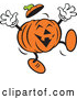 Vector of Happy Cartoon Halloween Jackolantern Jumping by Johnny Sajem