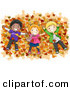 Vector of Happy Cartoon Kids Laying on a Pile of Autumn Leaves by BNP Design Studio