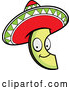 Vector of Happy Cartoon Mexican Avocado Slice with a Sombrero Hat by Cory Thoman