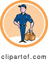 Vector of Happy Cartoon Paramedic Guy with a First Aid Kit in a White and Orange Circle by Patrimonio