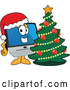 Vector of Happy Cartoon PC Computer Mascot Wearing a Santa Hat by a Christmas Tree by Toons4Biz